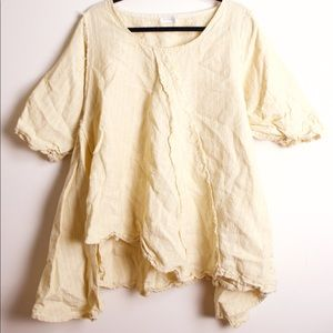 Krista Larsen yellow linen billowy tunic top